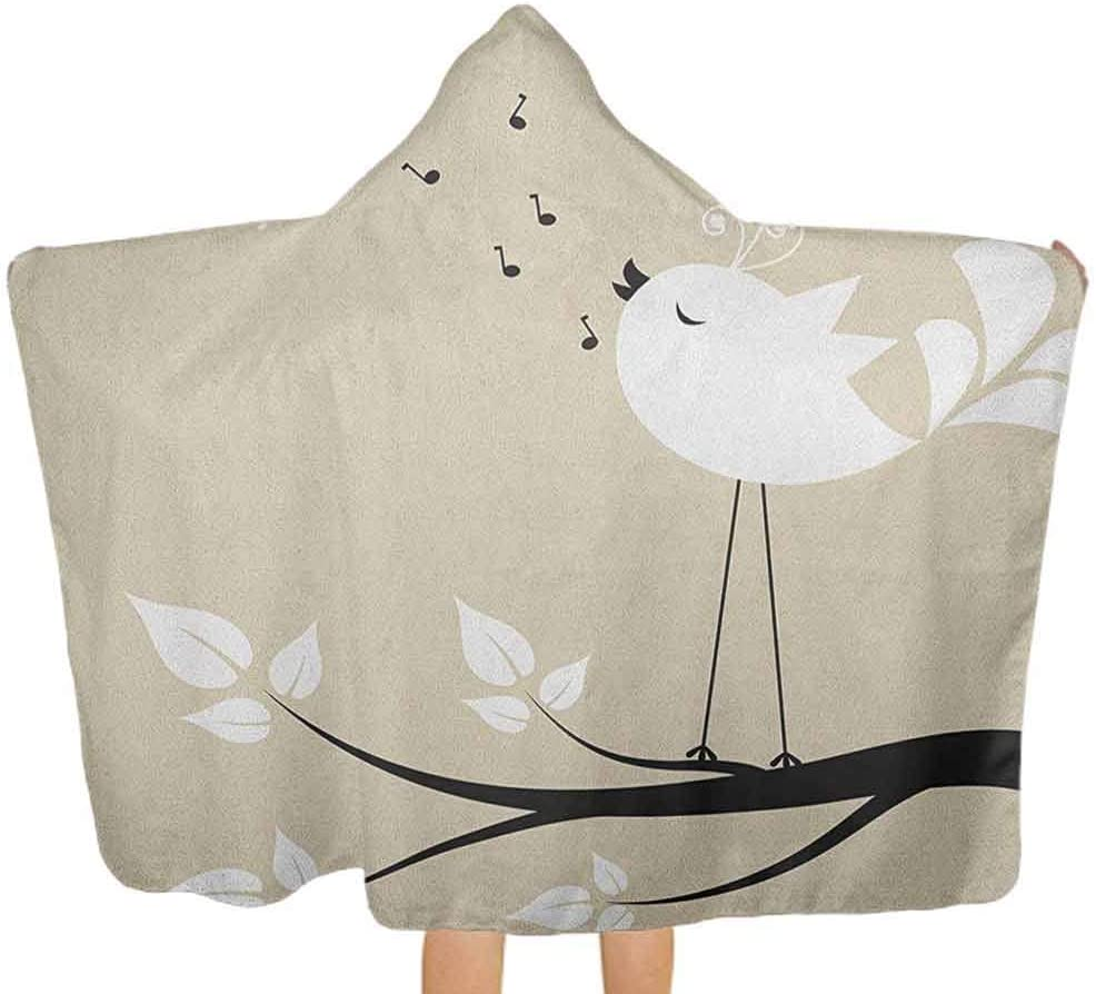 """shirlyhome Hooded Towels Birds Super Absorbent Bath Towel Two Birds on a Branch Singing Love Songs Friend Valentine Couple Hope Living Cream Black White Size 30""""x50"""""""