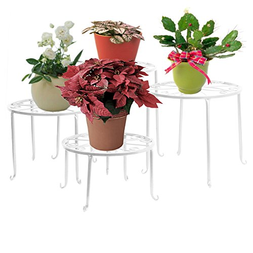 Dazone Metal 4 in 1 Potted Plant Stand Floor Flower Pot Rack (White)