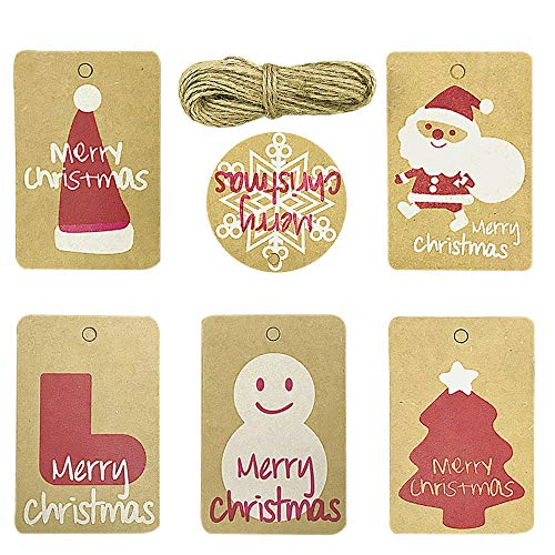 Christmas Gift Kraft Paper Tags - 60 Pack Brown Package Name Card Present Wrap Label Stamp for DIY Xmas Holiday and Party Supply 6 Designs with Twine String Tie on Smooth for Writing
