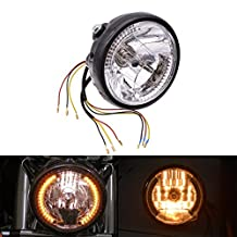 "KaTur 7"" Motorcycle Halogen Round Headlight Lamp LED Angel Eye Harley Turn Signals Light H4 Bulb Head Lamp for Kawasaki Dyna Honda Yamaha Chopper Cafe Racer Bobber Bracket"