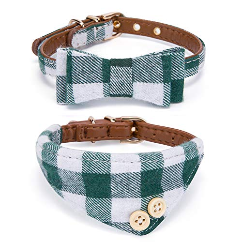 StrawberryEC 2PC Extra Small Dog and Cat Collar. Adjustable 5 Holes to Also Fit Puppy and Kitten. Quality PU Leather and Durable Polyester (Dark Green Plaid)