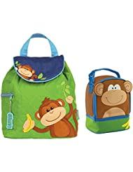 Stephen Joseph Boys Quilted Monkey Backpack and Monkey Lunch Pal Combo for Kids