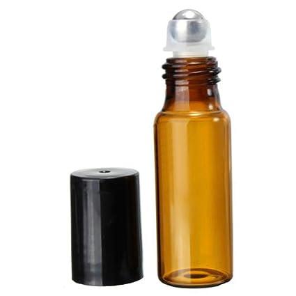 10pcs 5 ml/10 ml Ámbar rollo en botellas de vidrio Roller para perfume aceite