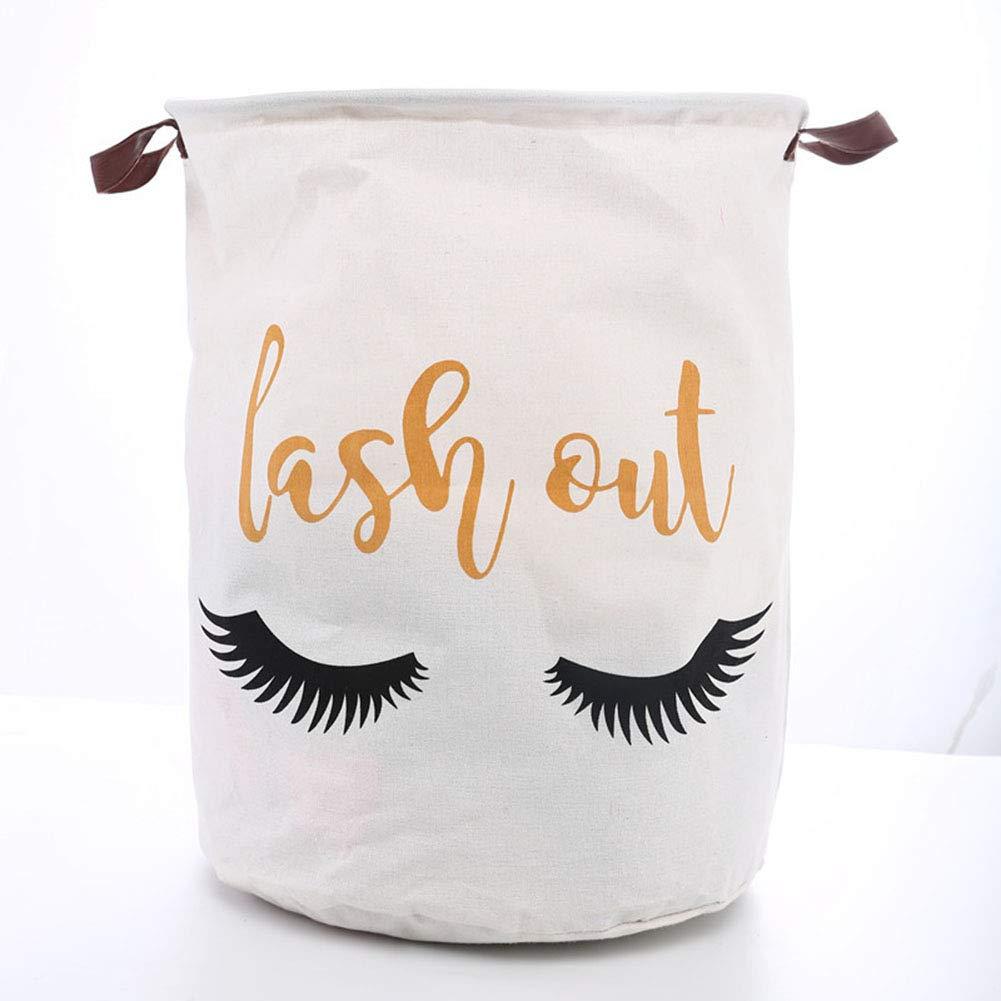 SuperiMan Gold Theme Cotton Storage Basket with Handles,Laundry Basket,Toys Organizer Basket (Eyelashes)