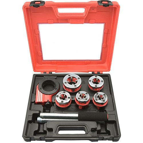Domeiki Pipe Threader 9pc Heavy Duty Ratcheting Die Set for Plumbing DIY Plumber - Tool Threader Pipe