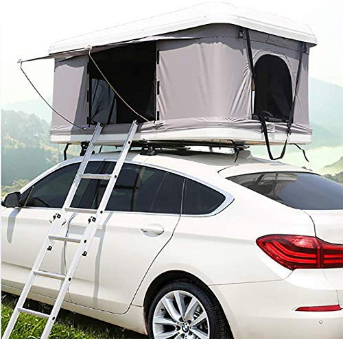 Automotive Rooftop Tent 2-3 Adults Car Roof Tent Awnings Camping Gear, White Shell + Gray Tent