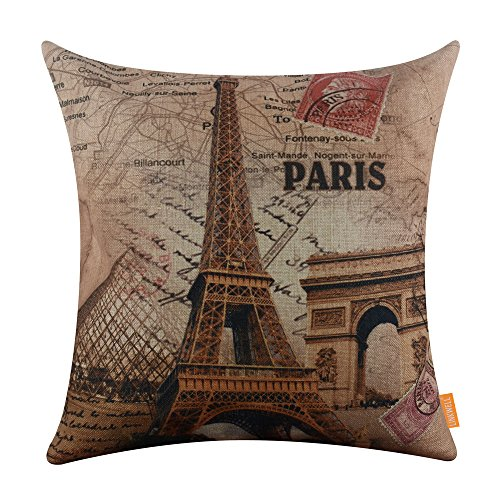 LINKWELL 45x45cm France Paris Eiffel Tower Linen Pillow Case Cushion Cover  Louvre Museum Triumphal Arch