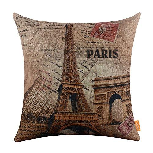 LINKWELL 45x45cm France Paris Eiffel Tower Linen Pillow Case Cushion Cover  Louvre Museum Triumphal Arch