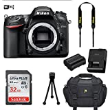 Nikon D7200 DSLR Camera Body Wi-Fi Enabled + 32GB Memory Card + Camera Carrying Bag + Tripod (Certified Refurbished)