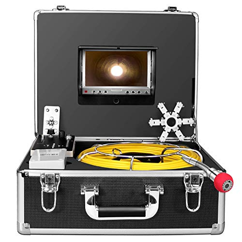 Pipe Inspection Camera165ft, Pipeline Drain Sewer Industrial Endoscope 50M Cable Waterproof IP68 Cable Snake Video System with 7 Inch LCD Monitor 1000TVL Sony CCD DVR Recorder Sewer Camera -
