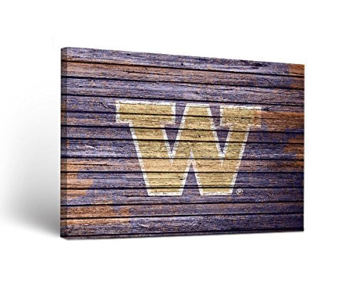 (Victory Tailgate Washington UW Huskies Canvas Wall Art Weathered Design (36x48))