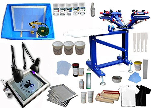 Floor Type 4 Color 1 Station Screen Printing Kit for Starter Screen Printing Press