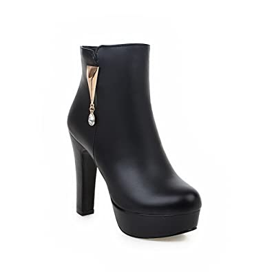 Women's Solid PU High-Heels Chains Round Closed Toe Boots