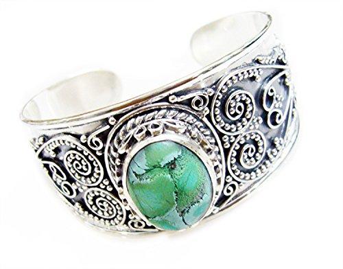 Gemsonclick Turquoise Argent sterling 925Pierre précieuse Bracelet Bijoux _ Gcb518