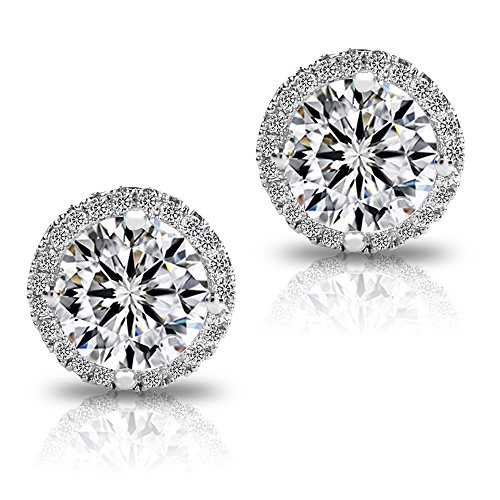 18K Platinum-Plated Cluster Round Cut Stud Earrings (1.66cttw) Image