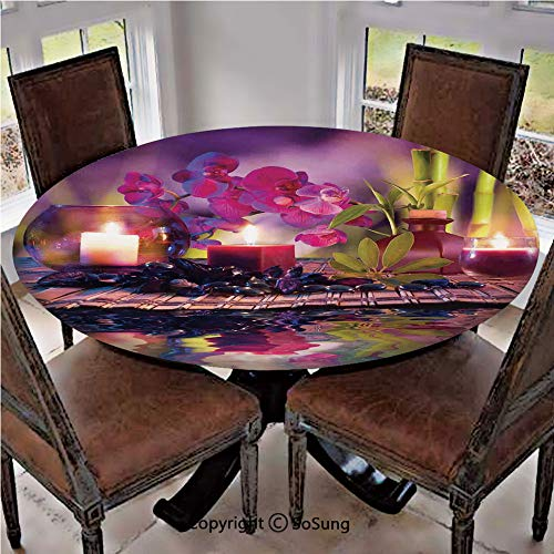 SoSung Elastic Edged Polyester Fitted Table Cover,Violet Composition Candles Oil Orchids and Bamboo on Water Natural Leaves,Fits up 56