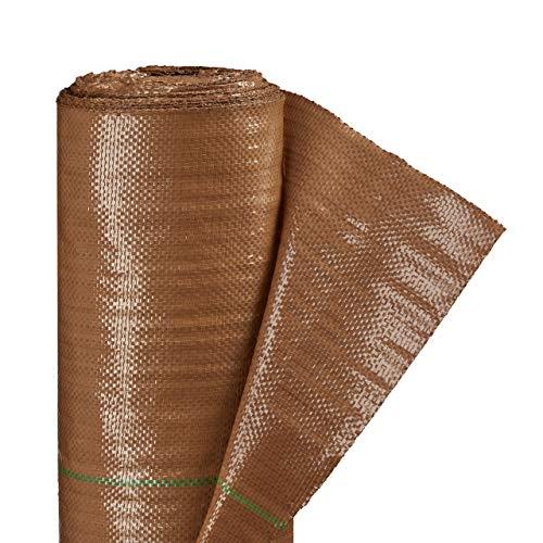Relaxdays Unkrautfolie, wasserdurchlässig, 2 x 10 m, reißfest, 100g/m², atmungsaktiv, UV stabil, Bodengewebe, PP, braun