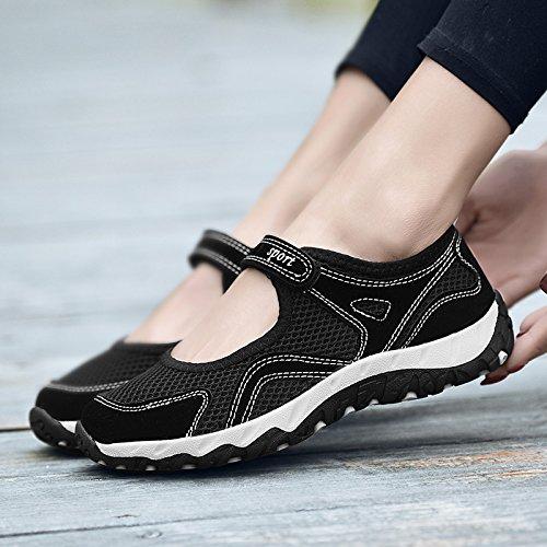 Hasag Zapatos Transpirables de Malla de Verano Zapatos de Madre de Deportes Femeninos Zapatos Solos Zapatos Antideslizantes de Fondo Suave de la Comodidad A1 black