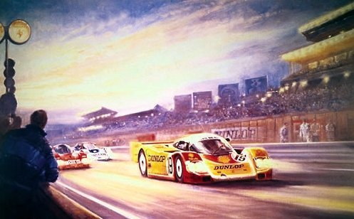 Andrettis At Le Mans Racing Print Autographed By Michael and Mario Andretti