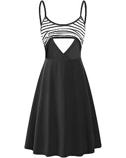 52c44ed16d0 Larenba Women s Summer Stripe Sleeveless Nursing Dress Flared Swing Breastfeeding  Dress