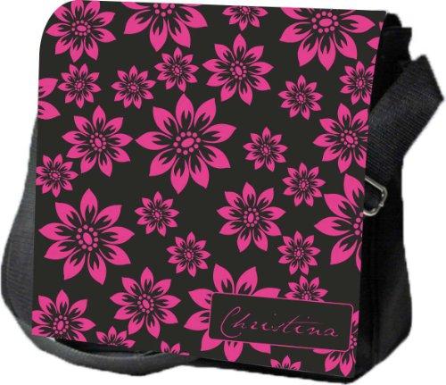 Schultertasche Umhängetasche Handtasche personalisiertes Geschenk Blumen Blüten Hippie Retro Party