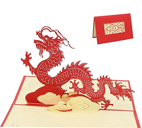 IShareCards Handmade 3D Pop Up Greeting Cards With Envelope - Chinese Dragon Loong (Loong GN015)