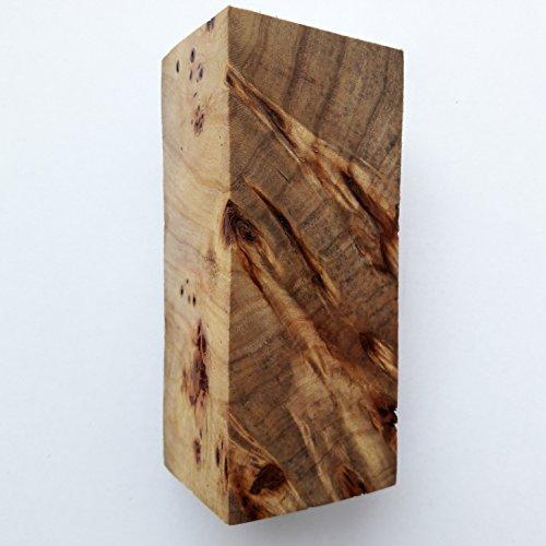 №225 Burl WOODen Poplar Cottonwood Block Blank Knife Knive Handle Scale Blade 116x47x47 - Burl Scales