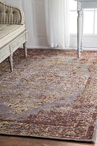 nuLOOM ALCD01A Floral Medallion Renay Area Rug, 5' x 8', Taupe - Origin: India Weave: machine made Material: 90% cotton, 10% polyester - living-room-soft-furnishings, living-room, area-rugs - 51sbnQqeBfL -