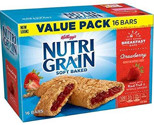 Grain Whole Baked (Kellogg's Nutri Grain Soft Baked Rise & Thrive 16 Breakfast Bars Strawberry Value Pack)
