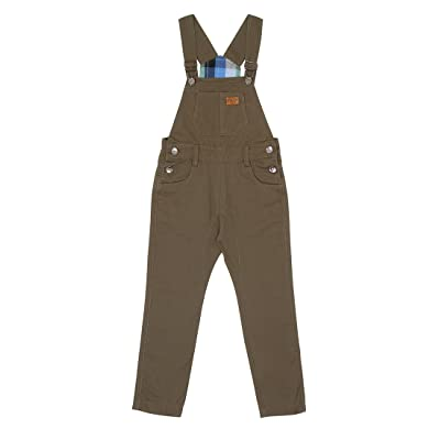 Childrens Bib Overalls Age 6-12 Green Slim leg dungarees with check lining