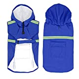 Dog Raincoat Leisure Waterproof Lightweight Dog Coat Jacket Reflective Rain Jacket with Hood for Small Medium Large Dogs(Blue,XXL)