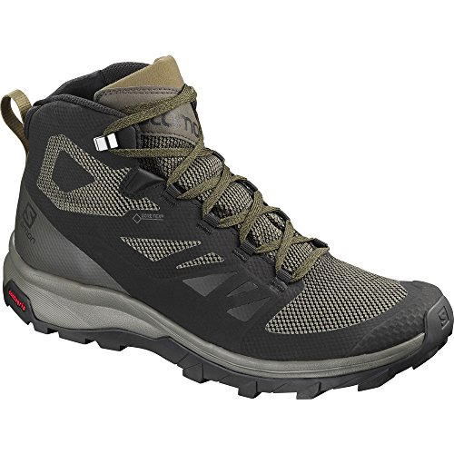 Salomon Outline Mid GTX Hiking Boot - Men's Black/Beluga/Capers, US 10.5/UK 10.0 (Mens Boots Hiking Goretex)