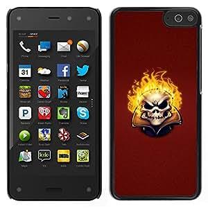 TopCaseStore / la caja del caucho duro de la cubierta de protección de la piel - Flaming Evil Skull - Amazon Fire Phone