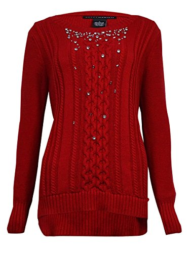 Grace Elements Womens Long Sleeves Rhinestone Pullover Sweater Red L
