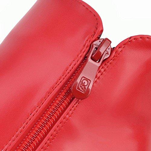 Rouge Avec À 2017 Eclair Bottines Plateforme Strass Femmes Uh Pour Fermeture Talons Bout Pointu Aiguilles F6UnX