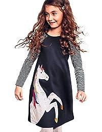 Toddler Baby Girl Kid Spring Dress, children Horse Print Stripes Sleeves Princess Party Dress