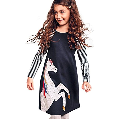 TIFENNY Toddler Baby Girl Kid Spring Dress, children Horse Print Stripes Sleeves Princess Party Dress (2T, Navy)