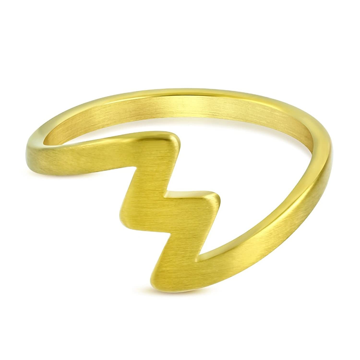 Stainless Steel Gold Color Plated Matte Finished Lighting Bolt Fancy Ring