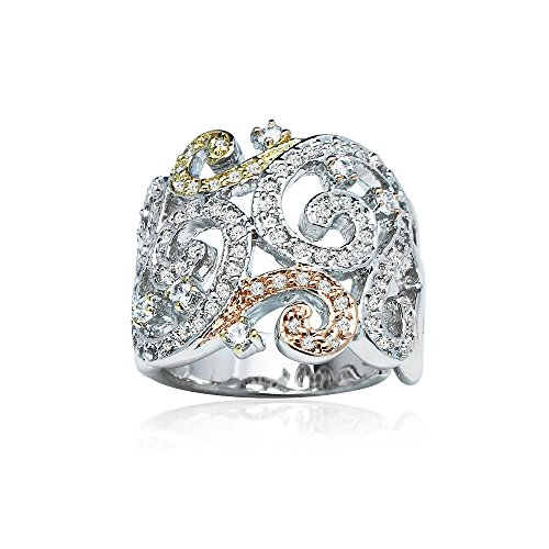 (Tri-Color Sterling Silver Cubic Zirconia Filigree Fashion Statement Ring, Size 7)
