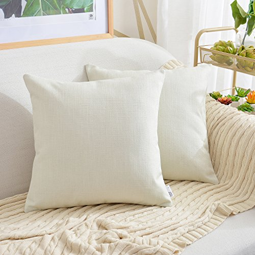 NATUS WEAVER 2 Pc Faux Linen Square Tone Woven Fine Throw Pillow Sham Cushion Case Covers for Bed Car Couch Use, 18 - inch, Ivory