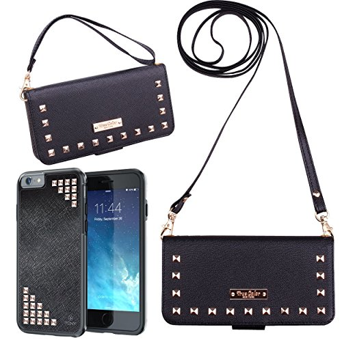 TrueColor Wallet Case Compatible with iPhone 6s Plus Wallet Case, Studded Wristlet with Removable Magnetic Hybrid Case + 2 Changeable Wrist and Cross Body Straps Clutch Purse Clubbing Cover + (Studded Wristlet Clutch)