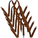 HDE 5 Pack Solid Color Straight Y-Back Clip Suspenders - 1 Inch Wide (Brown, 48 inches)