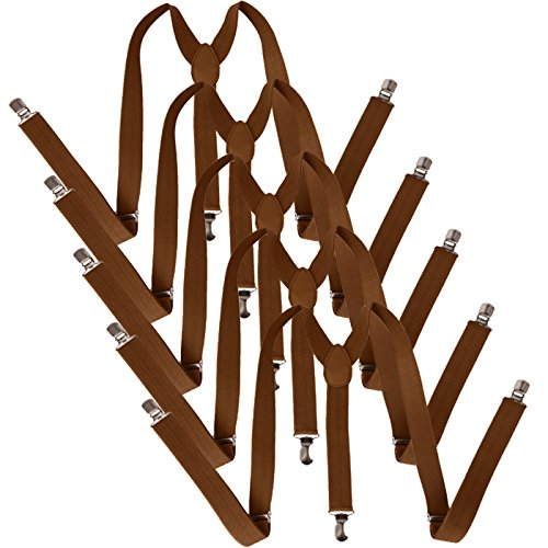 HDE 5 Pack Solid Color Straight Y-Back Clip Suspenders - 1 Inch Wide (Brown, 48 inches) by HDE