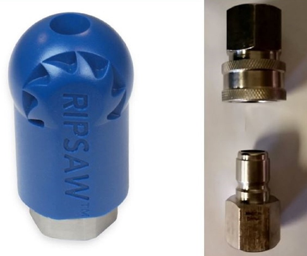 Bundle - 3 items: Ripsaw Rotating Turbo Nozzle (12.0), Male & Female Stainless Steel Socket by Hydra-Flex