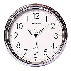 Maywhen Quartz Arabic Numerals Silent Round Wall Clock Bedroom White Silver 12 Inches
