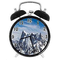 22yiihannz Farmhouse Silent Luminous Alarm Clock,Picturesque Mont Blanc Cliff to Cloud Idyllic Environment Trekking Landmark-No Ticking,Soft Night Light,The Best Gift for Family or Friends-4 inch