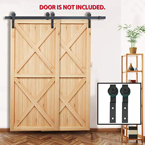 - PENSON & CO. SDH-BY23-BK 6.6 FT Bypass Sliding Barn Hardware Double Wood Doors One-Piece Rail Track Kit (Black)