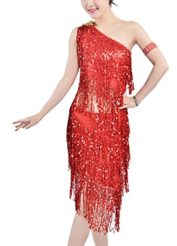 [Whitewed Modern Great Gatsby Style Themed Parties Dresses Outfit for Women Red, Red, 4 / 6] (Gatsby Outfits)