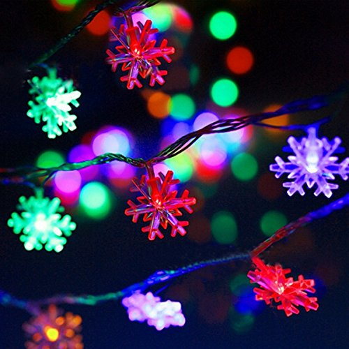 40 LED Colorful Christmas Snowflake Waterproof Battery LED Flash Lights String Decoration Festival Wedding Landscape (Hollywood Couple Costume Ideas)
