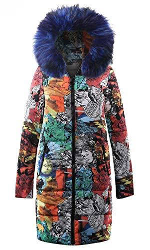 Épais Femme Blousons Long Doudoune À Most Z6m6 Veste Cy1629 Épaissir Jacket Winter Ms Graffiti Chaud Hiver Manteau Coat Personnalité Style Capuche New bleu xCrdoeBW
